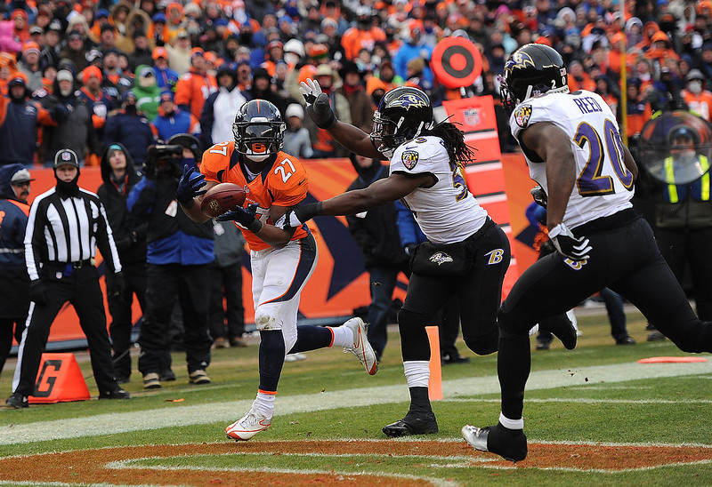 . Denver Broncos running back Knowshon Moreno (27) catches a 14-yard pass for a touchdown in the second quarter. The Denver Broncos vs Baltimore Ravens AFC Divisional playoff game at Sports Authority Field Saturday January 12, 2013. (Photo by Joe Amon,/The Denver Post)