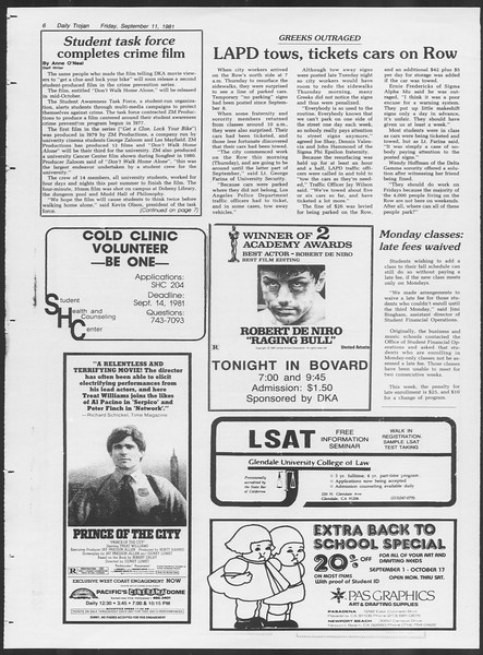 Daily Trojan, Vol. 91, No. 8, September 11, 1981
