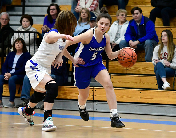 3/5/2020 Mike Orazzi | StaffrSouthington's Jessica Carr (5) and Glastonbury's Charlotte Bassett (15) during the Class LL Second Round of the CIAC 2020 State Girls Basketball Tournament at Glastonbury High School on Thursday night.