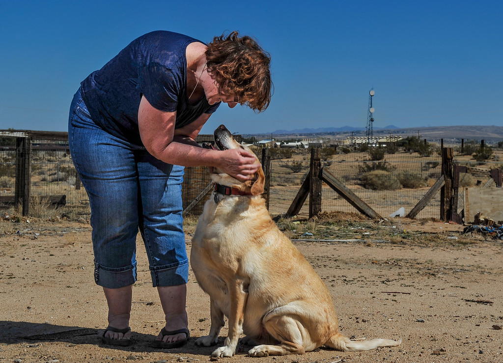 """. \""""Parts of the community are just disappearing, it\'s like watching a community that\'s been around for 100 years is going into a slow, painful death,\"""" said resident Barbara Ray, 52. With a view of the PG&E compressor station from her backyard, Ray, 52, plays with her dog Honey in her backyard at her home in Hinkley, Calif. on Saturday, March 16, 2013. (Rachel Luna / San Bernardino Sun)"""