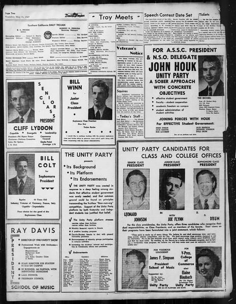 Daily Trojan, Vol. 38, No. 135, May 15, 1947