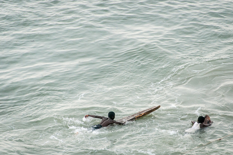 Kids swimming in Takoradi, Ghana