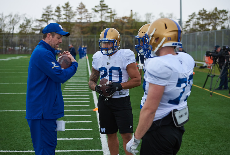 #20 Brady Oliveira during Winnipeg Blue Bombers rookie camp Wednesday May 15, 2019.