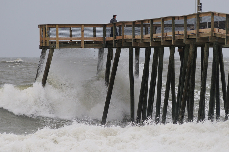 When I was up on the pier shooting, the waves were spraying through the boards.......