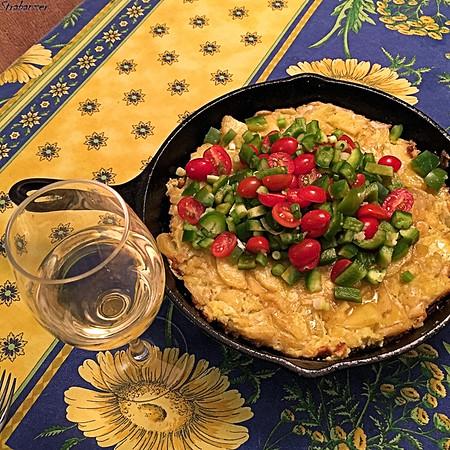 Spanish Tortilla with Tomato-Pepper Salad