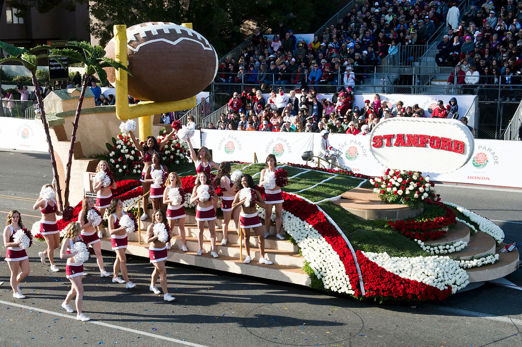 . Stanford University Cardinal float during 2014 Rose Parade in Pasadena, Calif. on January 1, 2014. (Staff photo by Leo Jarzomb/ Pasadena Star-News)