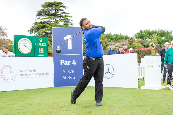 Willie Teleso from American Samoa hitting off the 1st tee on Day 1 of competition in the Asia-Pacific Amateur Championship tournament 2017 held at Royal Wellington Golf Club, in Heretaunga, Upper Hutt, New Zealand from 26 - 29 October 2017. Copyright John Mathews 2017.   www.megasportmedia.co.nz