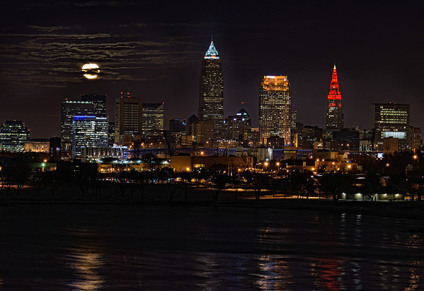 December Full Moon and Cleveland Christmas Lights