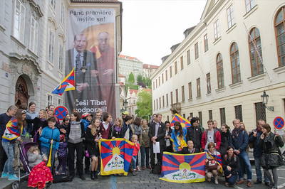The Czechs support Tibet demonstration 2014 Praha