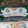 Mosaikarbeiten von Luis Morera auf der Plaza La Glorieta in der Stadt Las Manchas, La Palma, Kanarische Inseln.