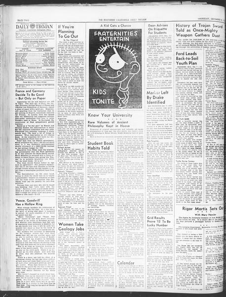 Daily Trojan, Vol. 30, No. 56, December 08, 1938