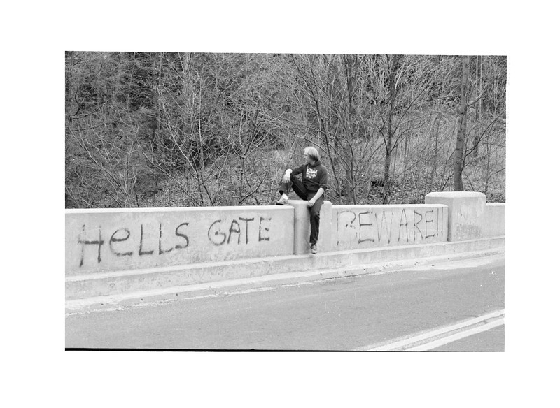 1982 - 1983 MJ on Bridge Hells Gate Beware.jpg
