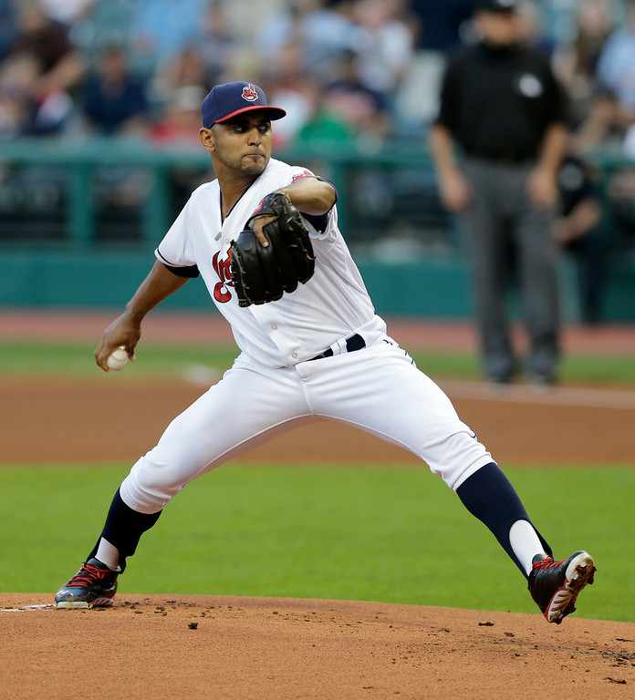 . Cleveland Indians starting pitcher Danny Salazar delivers in the first inning of a baseball game against the Detroit Tigers, Wednesday, Sept. 3, 2014, in Cleveland. (AP Photo/Tony Dejak)