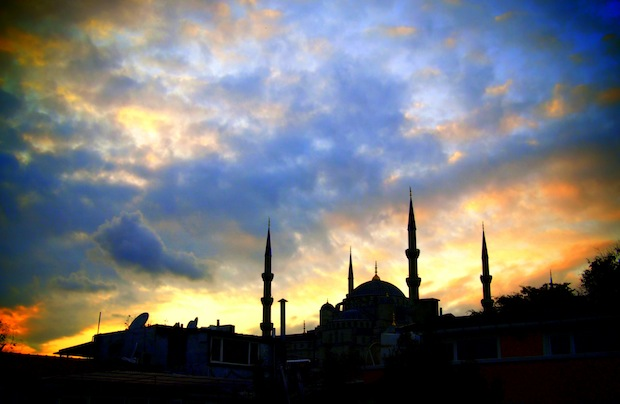 Blue Mosque at dusk, from a rooftop in Sultanahmet
