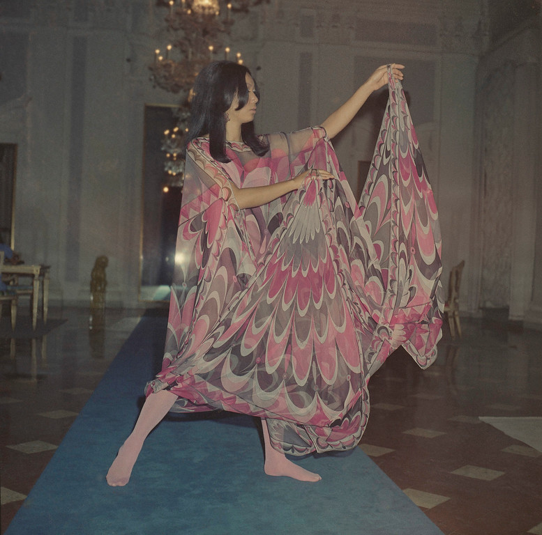 . A pancho-shaped dress of printed silk jersey, with very wide draperies attached to the wrists, Nov. 11, 1968. (AP Photo/Mario Torrisi)