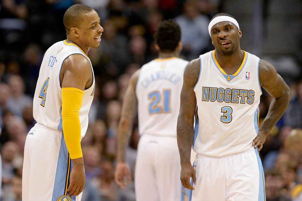 . y Lawson (3) of the Denver Nuggets makes a face as Randy Foye (4) jokes with him against the Minnesota Timberwolves during the second half of the Timberwolves\' 132-128 win. (Photo By AAron Ontiveroz/The Denver Post)