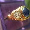 1.75ctw Cab Sapphire and Old European Cut Diamond 3-stone Ring 11