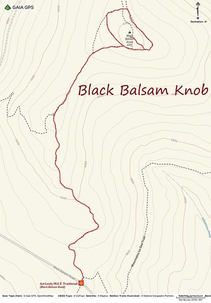 Black Balsam Knob Hike Route Map