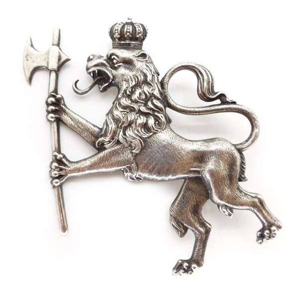 Antique Edwardian Norwegian Silver H. C. Østrem Coat Of Arms Lion Brooch