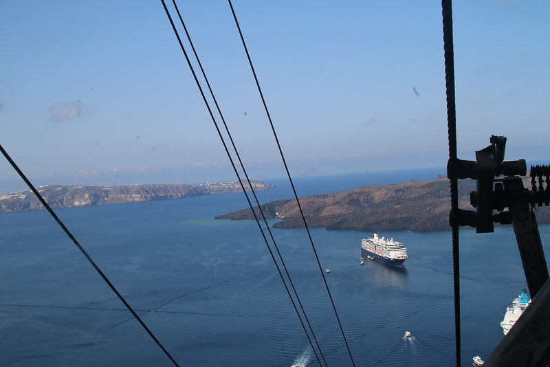 Riding the cable car up to Fira, Santorini, Greece