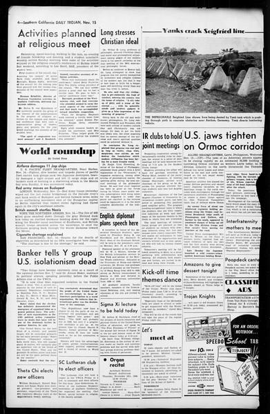 Daily Trojan, Vol. 36, No. 7, November 15, 1944