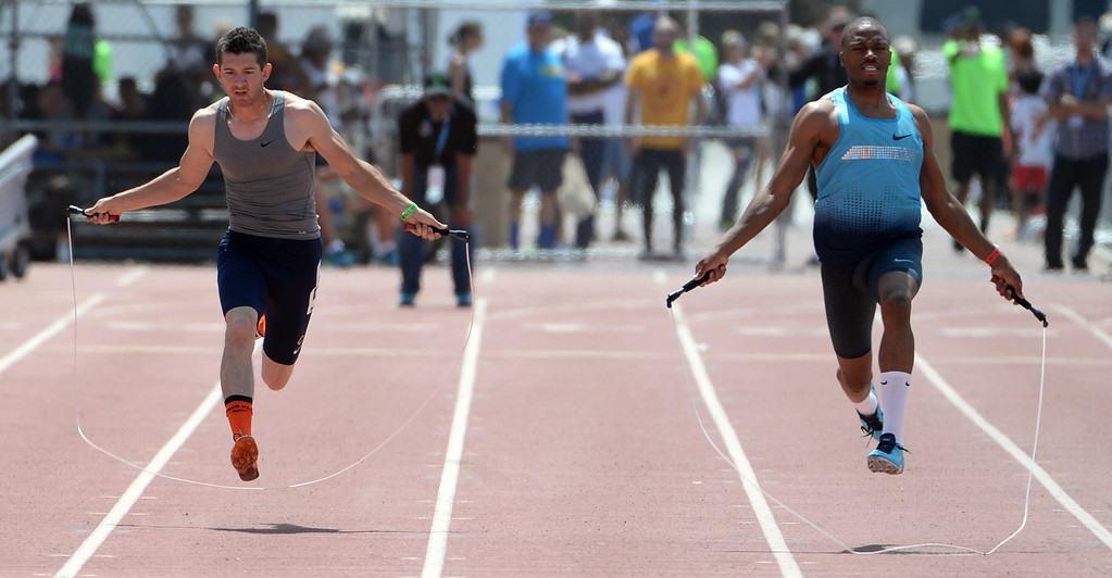 . Athletes jump rope during the Mt. SAC Relays in Hilmer Lodge Stadium on the campus of Mt. San Antonio College in Walnut, Calif., on Saturday, April 19, 2014.  (Keith Birmingham Pasadena Star-News)