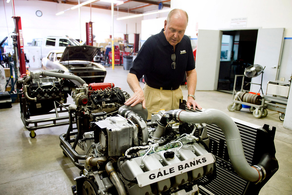 . Gale Banks, owner of Gale Banks Engineering, gives a tour of his engines at the Azusa business on Thursday, July 22, 2013. Gale Banks is celebrating 55 years in business. The manufacturing and engineering company produces products for high-performance cars and trucks. (SGN/Staff photo by Watchara Phomicinda)