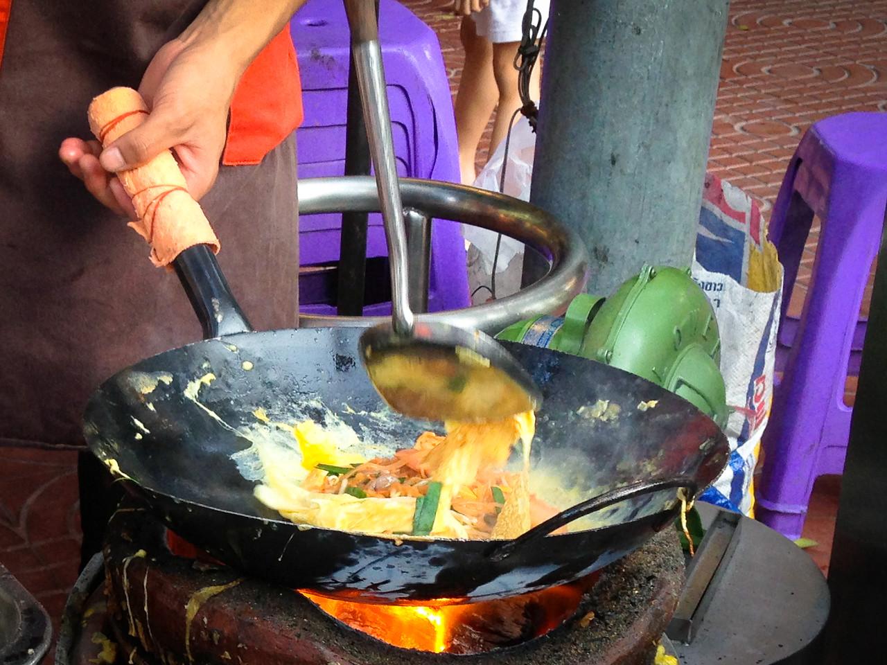 Pad Thai Cooked over Charcoal at Thip Samani Bangkok