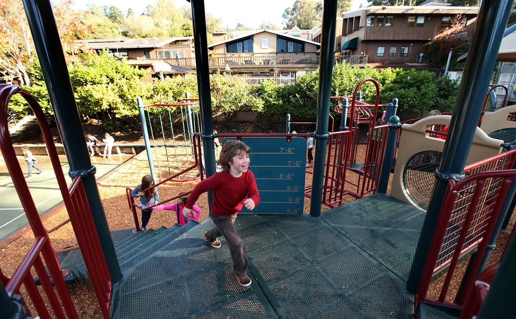 . First graders run and play during a morning recess at Head Royce School in Oakland, Calif. on Monday, Dec. 3, 2012.  Head Royce is in it\'s 125th year of operation. (Laura A. Oda/Staff)