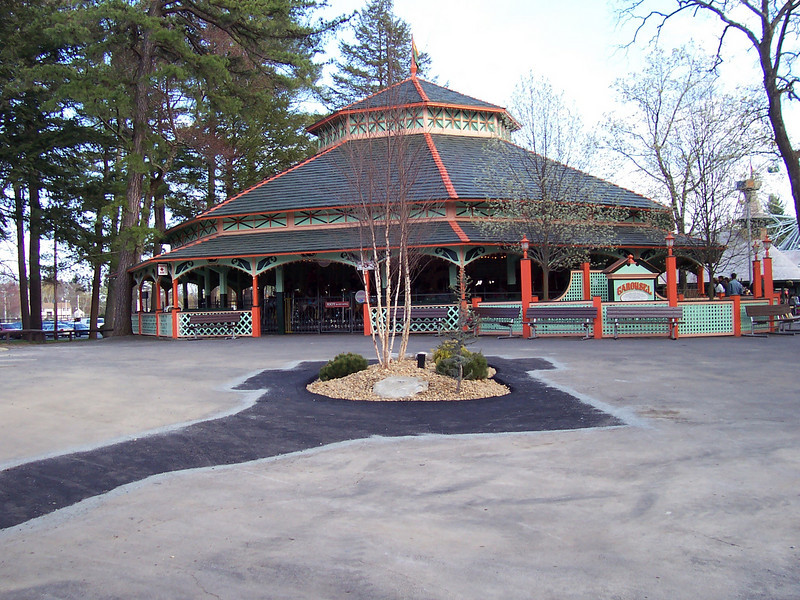New landscaping in front of the new Hot Dog building, next to the Carousel.