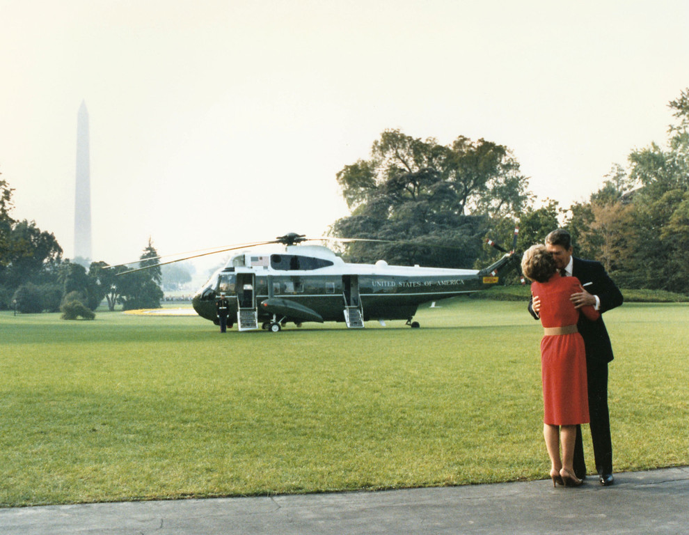. Former U.S. President Ronald Reagan kisses former First Lady Nancy Reagan in this undated file photo. The couple celebrated their 50th wedding anniversary on March 4th 2002. (Photo courtesy Ronald Reagan Presidental Library/Getty Images)