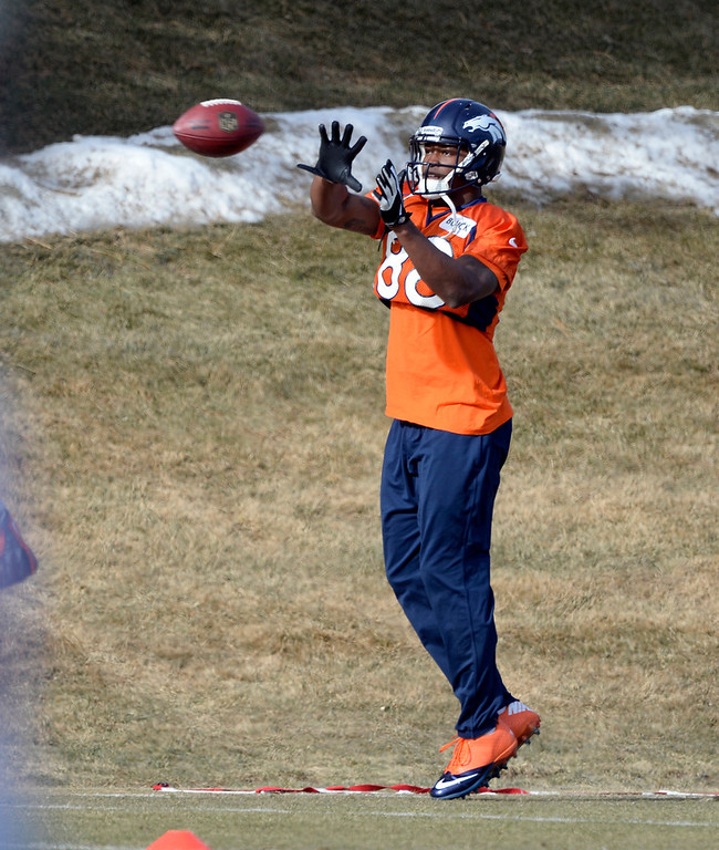 . Denver Broncos wide receiver Demaryius Thomas (88) catches a pass during practice January 16, 2014 at Dove Valley. The Denver Broncos are preparing for their AFC Championship game against the New England Patriots at Sports Authority Field.  (Photo by John Leyba/The Denver Post)