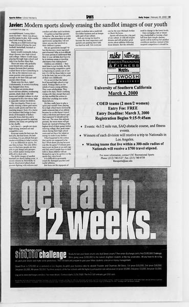 Daily Trojan, Vol. 139, No. 32, February 29, 2000
