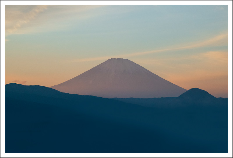 Another view of Fuji from the Tomei expressway.  This time at sunset.