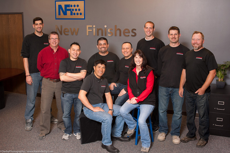 Group photo at New Finishes.  Can you tell who was photoshopped in?  (hint: more than one team member was added.)