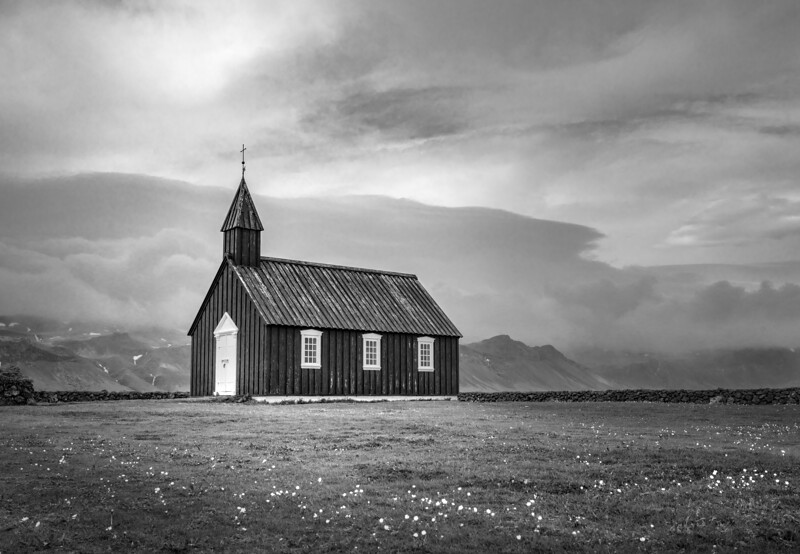 Iceland's Black Church  Black & White Photography by Wayne Heim