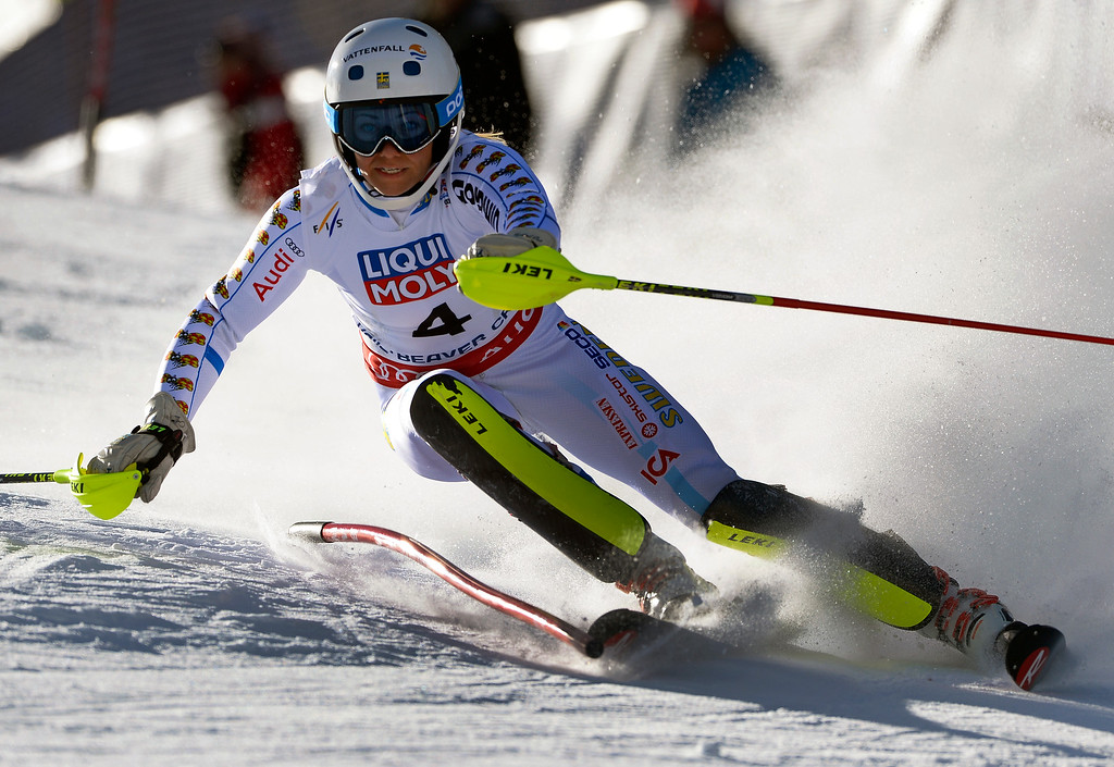 . Frida Hansdotter of Sweden races in the Ladies slalom at the FIS Alpine World Ski Championships in Beaver Creek, CO. February 14, 2015. She is currently in second place after the first run. (Photo By Helen H. Richardson/The Denver Post)
