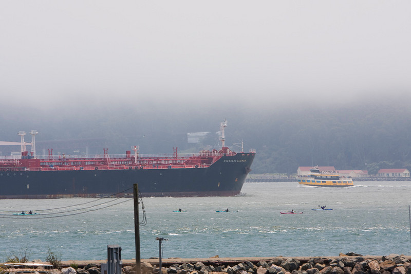 And the ship goes out, but the kayakers just sailed right past.