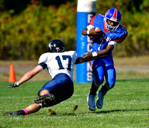 10/5/2019 Mike Orazzi | StaffrSt Paul's Quentin Connor (2) during Saturday's football game with Ansonia in Bristol.
