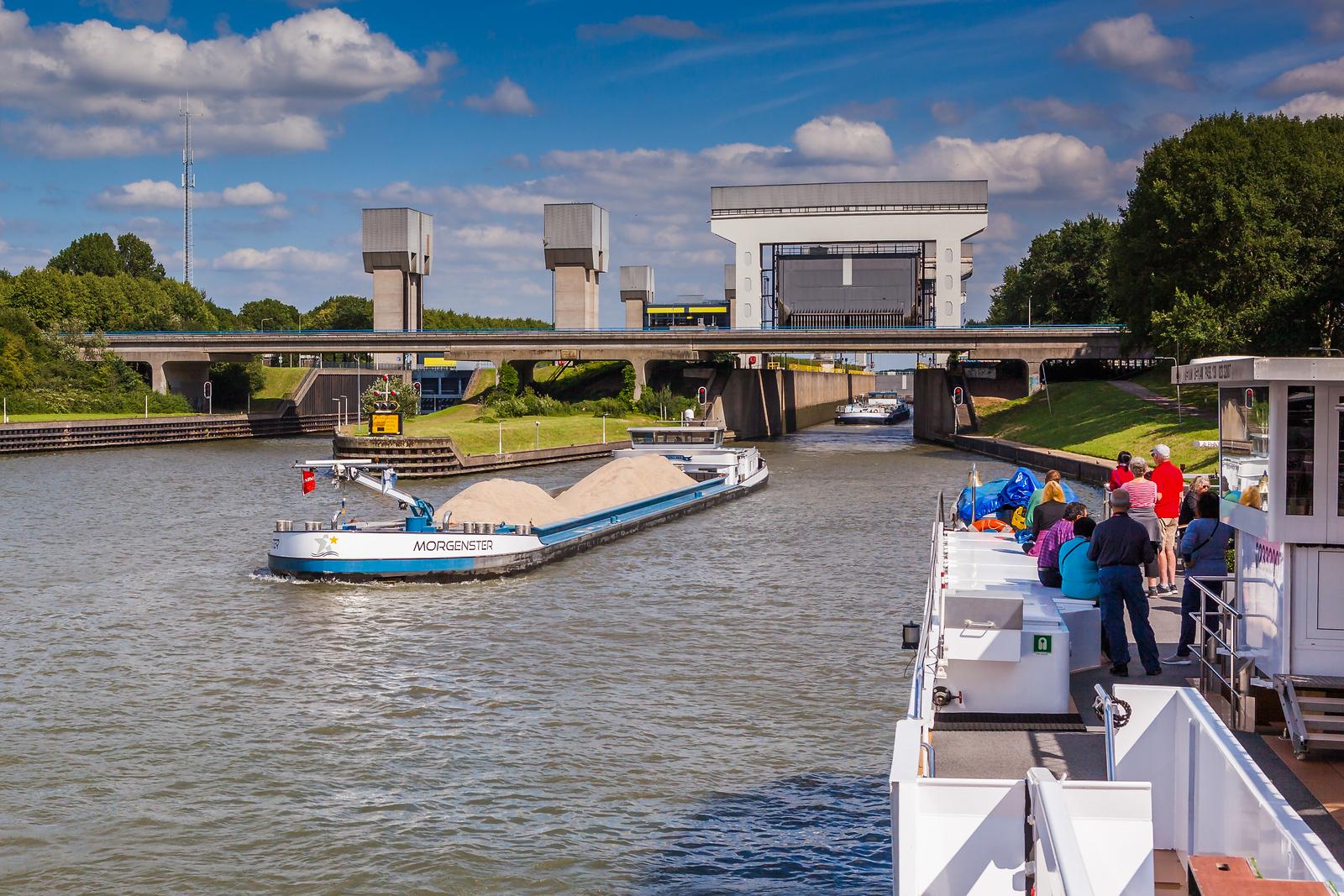 暢遊萊茵河,坐遊船過水閘