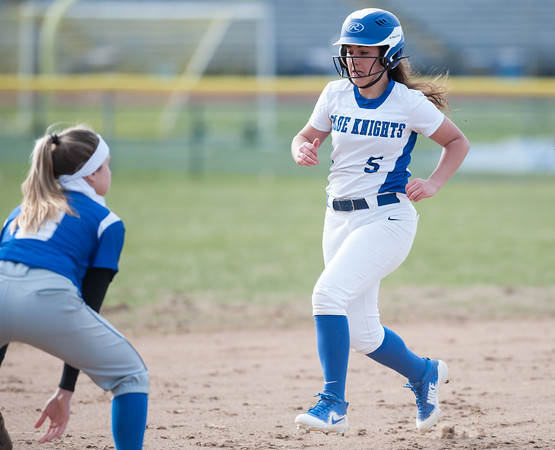 04/09/18 Wesley Bunnell | Staff Southington softball defeated Bristol Eastern 6-1 at Southington High School on Monday afternoon. Frankie Ferrante (5) runs into third.