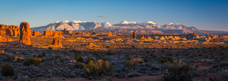 Winter La Sal Mountains Arches National Park Panorama