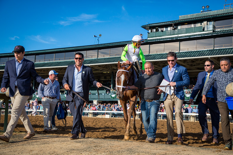 British Idiom (Flashback) wins the Darley Alcibiades (G1) at Keeneland on 10.04.2019. Javier Castellano up, Brad Cox trainer, Michael Dubb, The Elkston Group, Madaket Stables and Bethlehem Stables owners.
