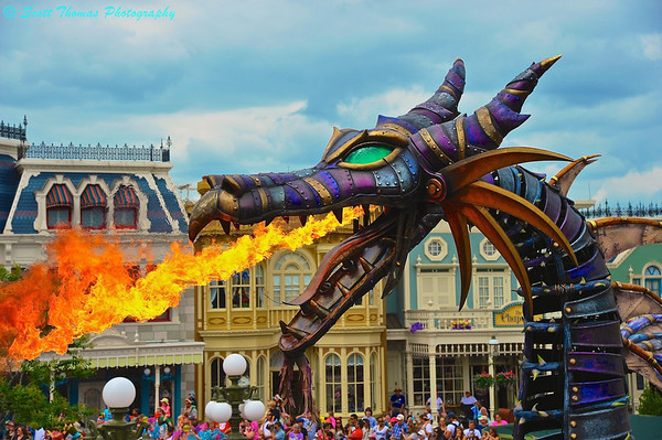 Steampunk Fire-Breathing Dragon in the Festival of Fantasy Parade on Main Street USA in the Magic Kingdom.