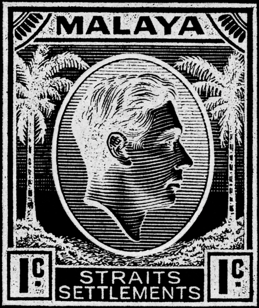Malaya Straits Settlements KGVI 1c inverted colours