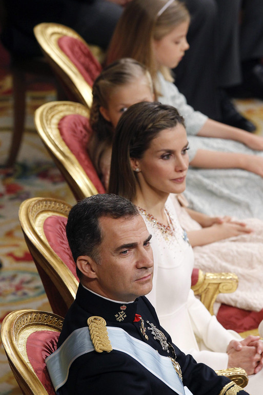 . King Felipe VI of Spain, Queen Letizia of Spain with daughters Princess Sofia and Princess Leonor,  Princess of Asturias  attend the Congress of Deputies for the proclamation as King of Spain to the Spanish Parliament on June 19, 2014 in Madrid, Spain. The coronation of King Felipe VI is held in Madrid. His father, the former King Juan Carlos of Spain abdicated on June 2nd after a 39 year reign. The new King is joined by his wife Queen Letizia of Spain. (Photo by Paco Campos /EFE - Pool Getty Images)