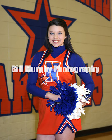 2013 - 2014 North Marshall Varsity Cheerleaders, Lauren Pace Coach, And Buddy Pictures, January 22, 2014.
