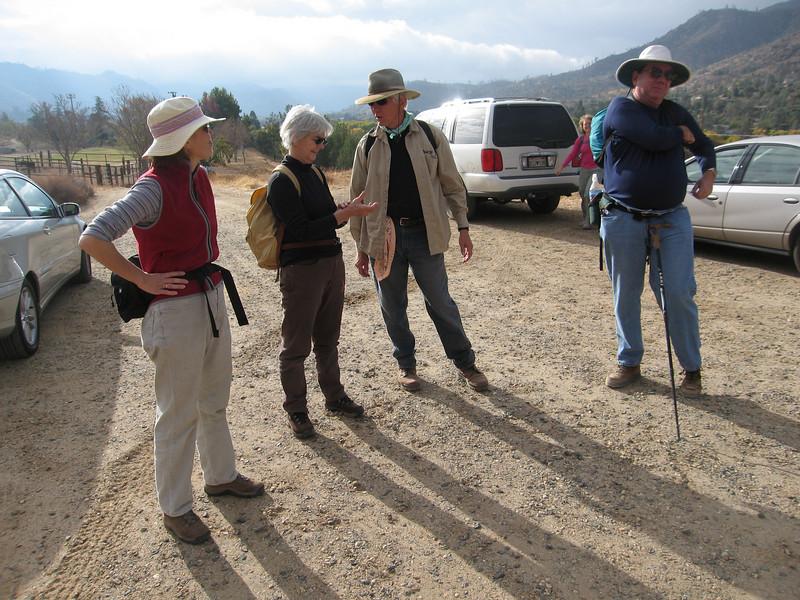 Galina, Dorothy, Mike K. and Glenn getting ready to hike