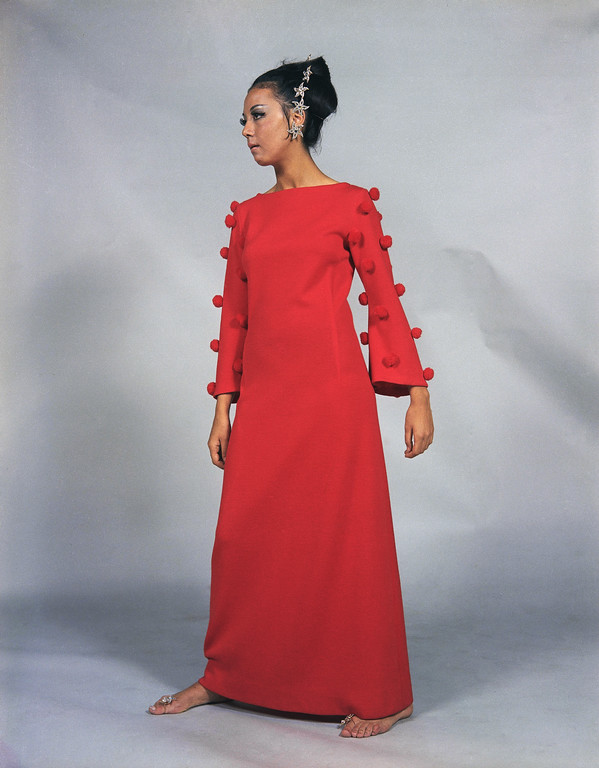 . A long evening dress of red Jersey, a creation by the Tita Rossi fashion house of Rome, presented at its show of its fall and winter collection, July 17, 1968. (AP Photo/Mario Torrisi)