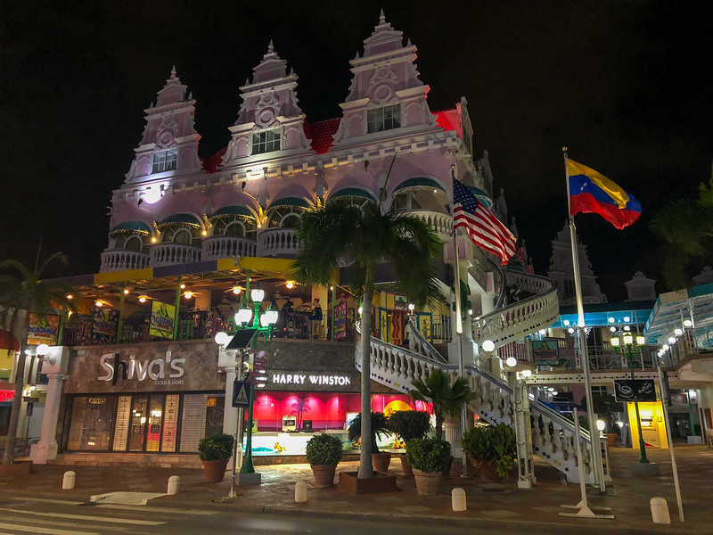 Royal Plaza Mall in Aruba at night